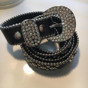 Accessories - Genuine Leather Black Crystal Belt removable buckl
